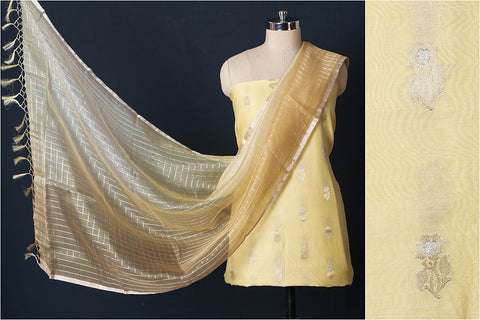 Handloom Chanderi Silk Zari Buti 2pc Suit Material Set with Ombre-Dyed Dupatta