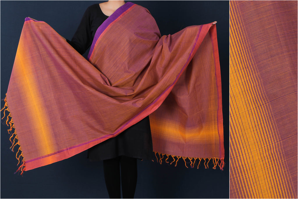 Handloom Mangalgiri Cotton Dupatta with Tassels by DAMA