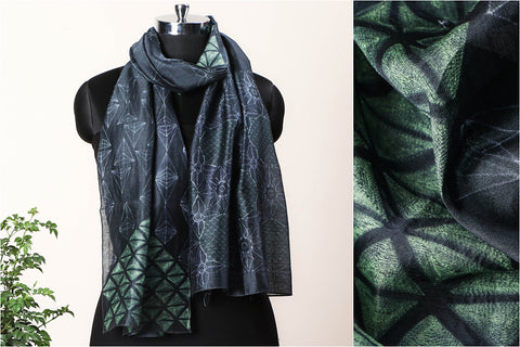 Special Four Leaf Clover Luck Finder Chanderi Silk Stitch Resist Dye Green/Grey Stole