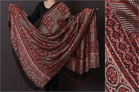 Ajrakh Hand Block Print Natural Dyed Paper Silk Dupatta with Tassels