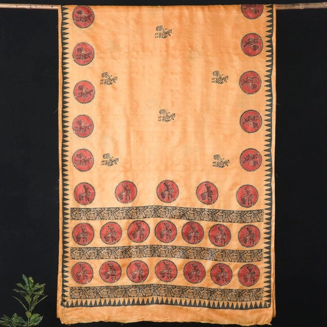Traditional Warli Embroidery Vidarbha Handloom Pure Tussar Silk Saree
