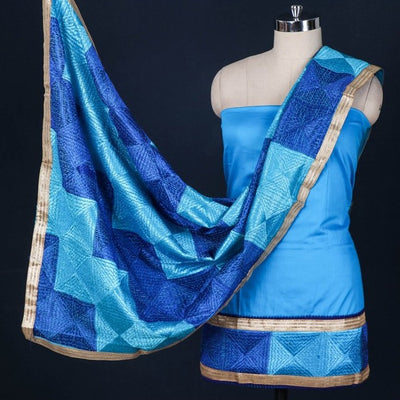 Phulkari Embroidered Cotton Gota Patti 3pc Suit Material Set with Chinon Dupatta