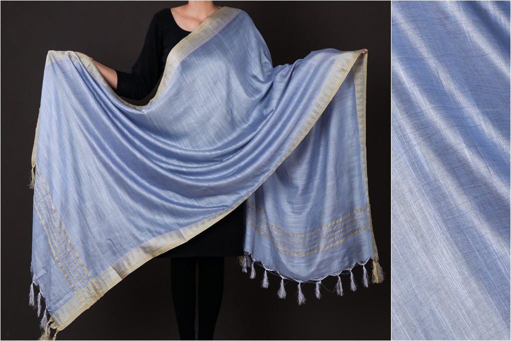 Echo Blue - Mulberry Silk Handloom Dupatta with Tassels