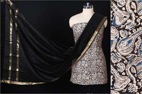 Kalamkari Chanderi Fabric & Maheshwari Silk Dupatta 2pc Suit Set