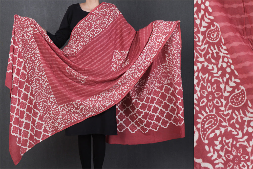 Dabu Hand Block Printed Mul Cotton Dupatta