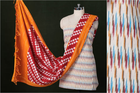 Pochampally Ikat Handloom Cotton 3pc Suit Material Set with Double Ikat Dupatta