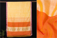 Original Mangalgiri Silk Cotton Silver Zari Border Handloom Saree