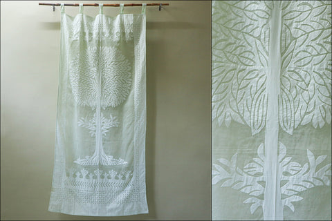 Barmer Applique Tree Cut Work Door Curtain (7 x 3.5 feet)