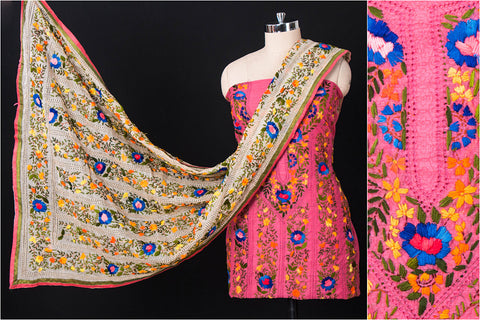 Traditional Phulkari Embroidered Silk Cotton 3pc Suit Material Set