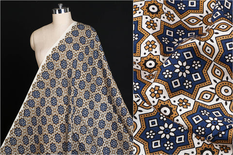 Special Ajrakh Hand Block Printed Modal Silk Natural Dyed Fabric
