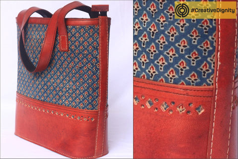 Handcrafted Kutch Leather Mashru Silk Shoulder Bag by Anchal Bijlani