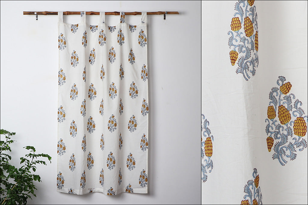 Sanganeri Handblock Printed Cotton Window Curtain (5 x 3.5 feet)