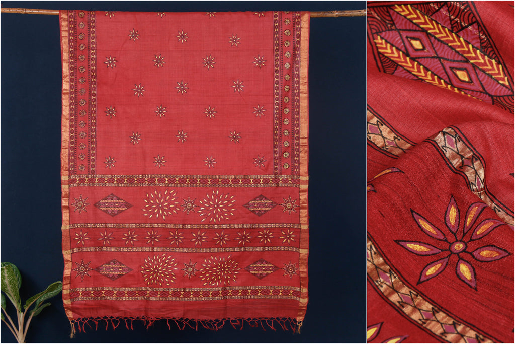 Traditional Godana Handpainted Pure Kosa Tussar Silk Handloom Saree