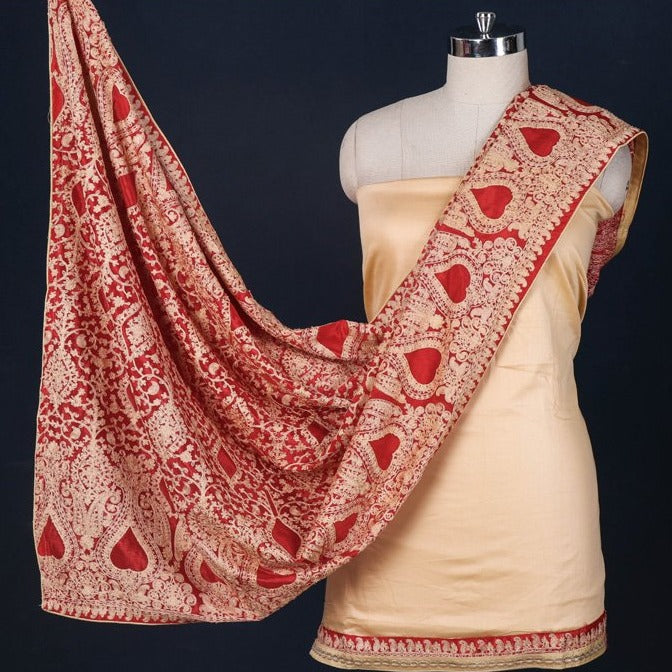 Phulkari Embroidered Cotton 3pc Suit Material Set with Chinon Dupatta