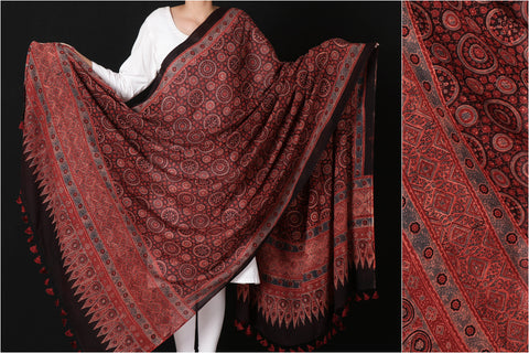 Sufiyan Khatri Special Mul Cotton Ajrakh Block Print Natural Dyed Dupatta with Tassels