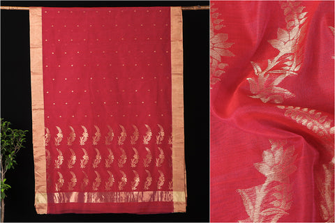 Traditional Chanderi Silk Zari Buti Handloom Saree with Blouse Piece