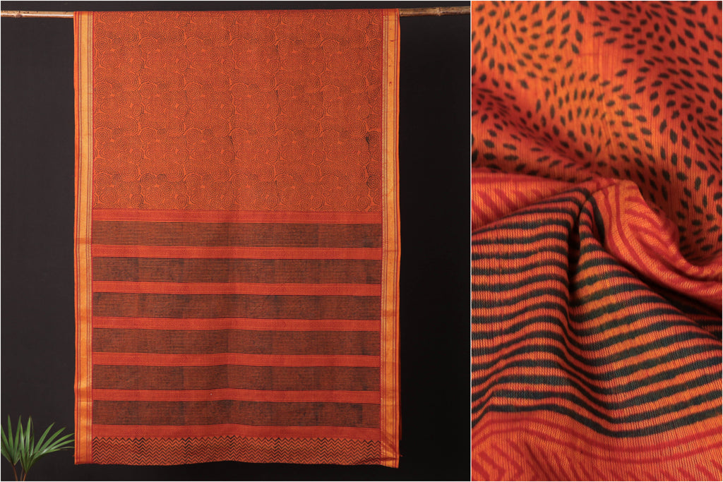 Pure Handloom Mangalgiri Cotton Hand Block Print Saree with Border