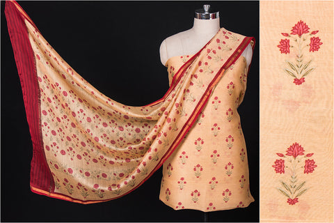 2pc Handloom Floral Print Mercerised Chanderi Silk Suit Material Set