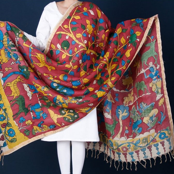 Chanderi Silk Kalamkari Srikalahasti Pen Work Handpainted Dupatta with Zari Border