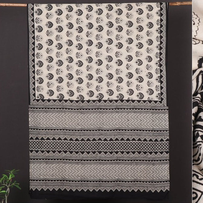 Syahi Begar Bagru Buti Hand Block Printed Soft Cotton Saree with Blouse