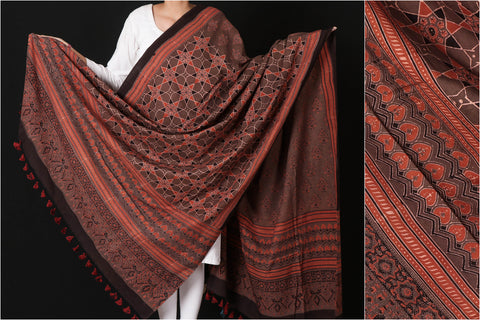 Sufiyan Khatri Special Pure Cotton Ajrakh Block Print Natural Dyed Dupatta with Tassels
