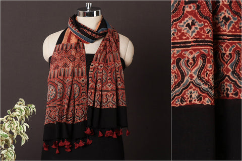 Sufiyan Khatri Special Mul Cotton Ajrakh Block Print Natural Dyed Stole with Tassels