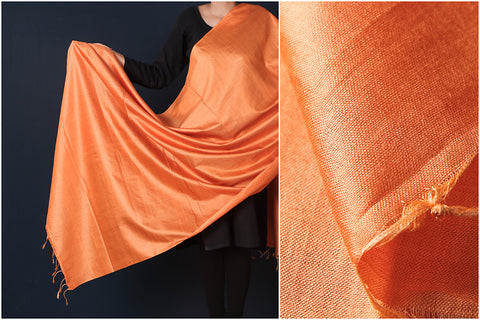 Orange - Vidarbha Tussar Cotton Handloom Dupatta