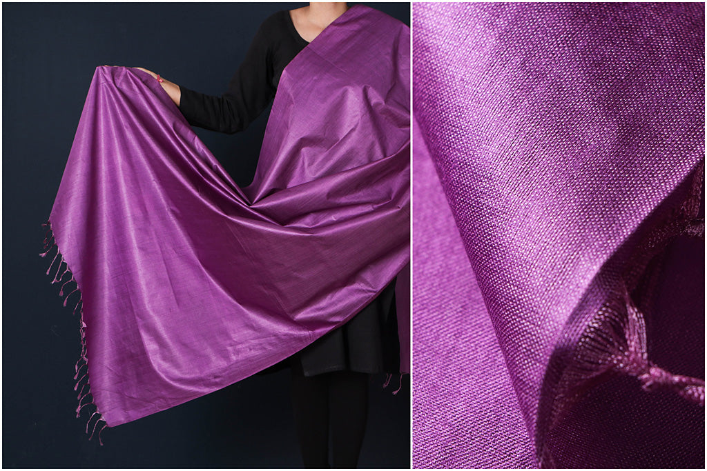 Purple - Vidarbha Tussar Cotton Handloom Dupatta