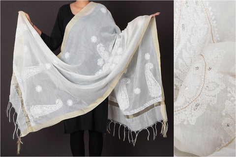Chikankari Beadwork Hand Embroidered Chanderi Silk Dupatta with Zari Border