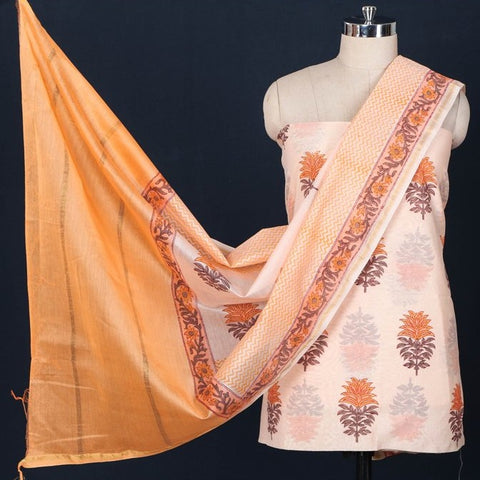 2pc Chanderi Silk Sanganeri Block Print Suit Material Set with Ombre-Dyed Dupatta