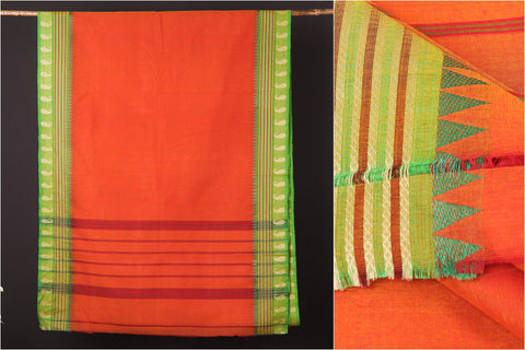 Traditional Chettinad Kandangi Pure Cotton Thread & Zari Border Saree from Tamil Nadu