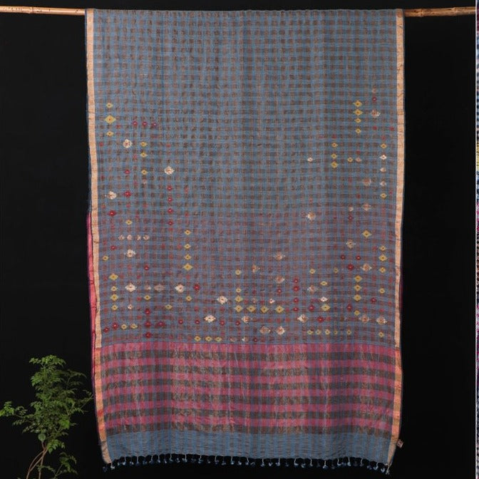 Special Jamdani Pure Handspun Handwoven Cotton Natural Dyed Zari Weave Saree with Tassels from Bengal