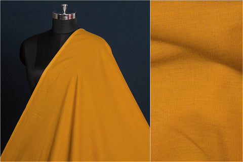 Turmeric - Pre Washed Plain Pure Cotton Fabric (Width - 44in)