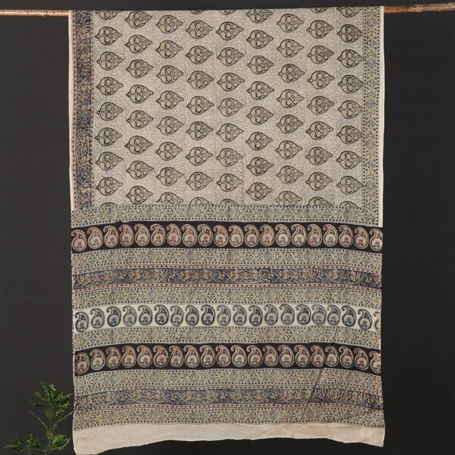 Original Pedana Kalamkari Hand Block Print Natural Dyed Cotton Saree with Blouse