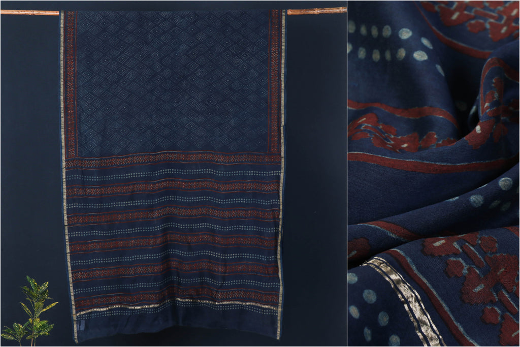 Traditional Akola Block Print Chanderi Silk Saree with Zari Border