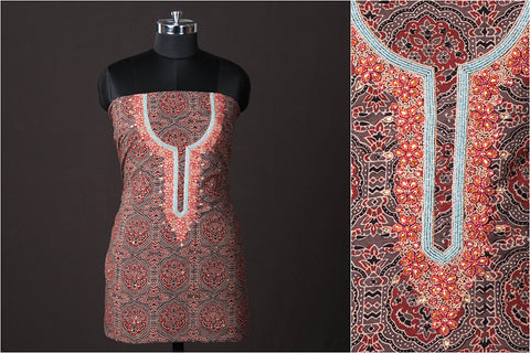 Hand Embroidered Bead Work Ajrakh Block Printed Cotton Kurta Material (2.65 metres)