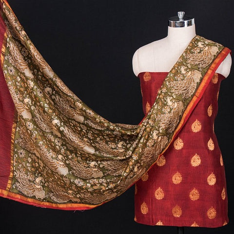 2pc Handloom Chanderi Silk Zari Buti Suit Material Set with Kalamkari Dupatta