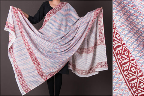 Sanganeri Block Printed Cotton Dupatta