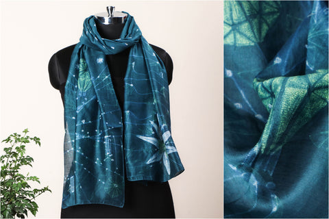 Special Darwin's Orchid Coevolution Chanderi Silk Stitch Resist Dye Green/Bottle Green Stole
