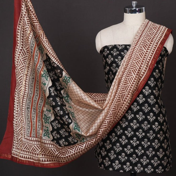3pc Bagru Block Printed Chanderi Silk Suit Material Set with Zari Border