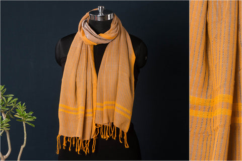 Handloom Mangalgiri Cotton Twill Weave Natural Dyed Stole with Tassels by DAMA
