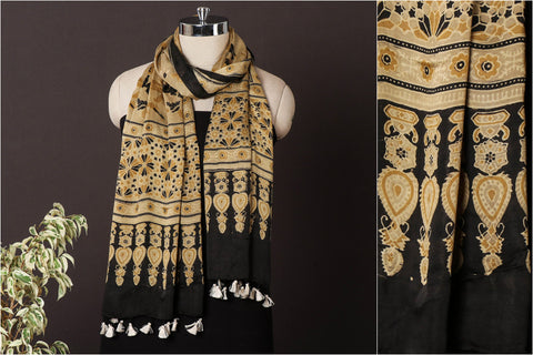 Sufiyan Khatri Special Modal Silk Ajrakh Block Print Natural Dyed Stole with Tassels