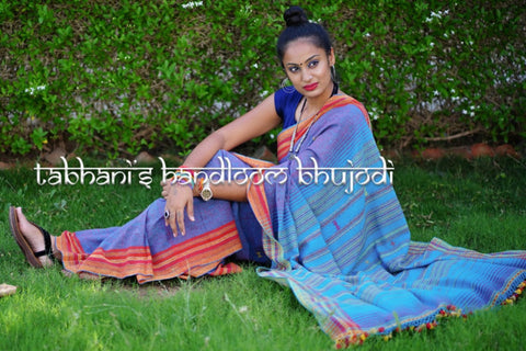 Kutch Bhujodi Weaving Tabhanis Handloom Kala Cotton Saree by Vinay Siju