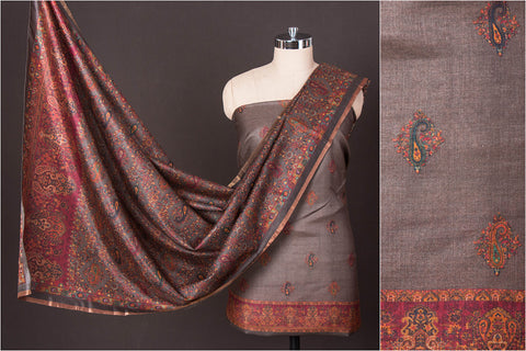 2pc Handloom Digital Print Muga Tussar Silk Suit Material Set