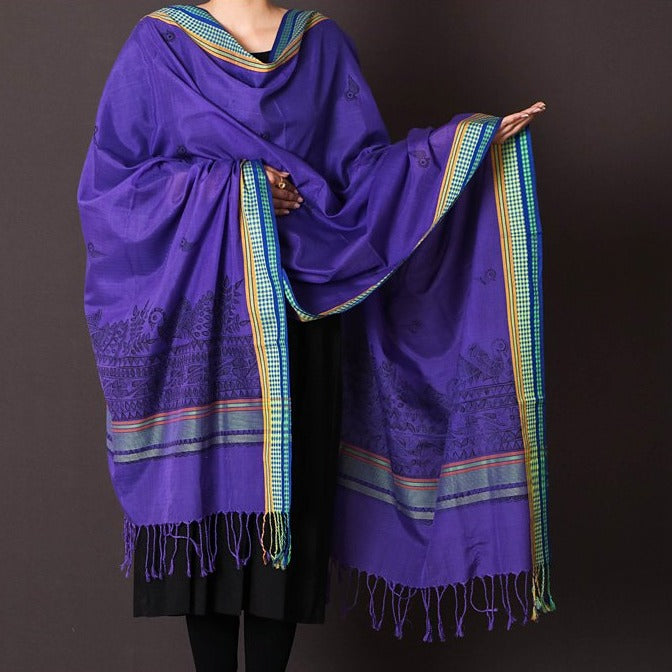 Traditional Madhubani Handpainted Silk Cotton Handloom Dupatta with Tassels