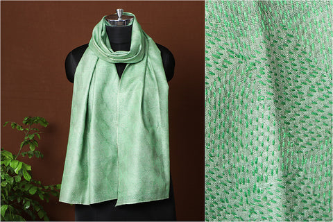 Light Green - Special Sujani Hand Embroidery Handloom Pure Tussar Silk Stole by Aunam