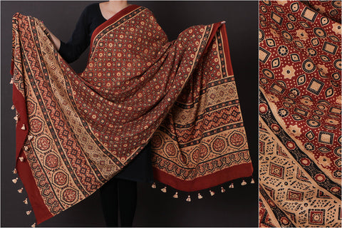 Ajrakh Hand Block Print Natural Dyed Pure Cotton Dupatta with Tassels