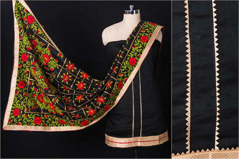 Traditional Phulkari Embroidered Silk Cotton Gota Patti 3pc Suit Material Set