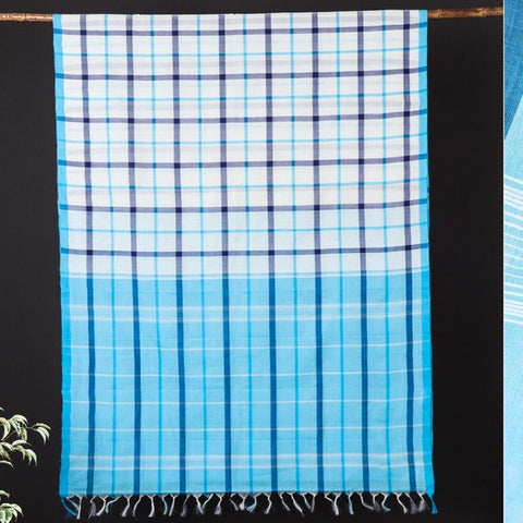 Traditional Handloom Kanchipuram Pure Cotton Checks Saree from Tamil Nadu