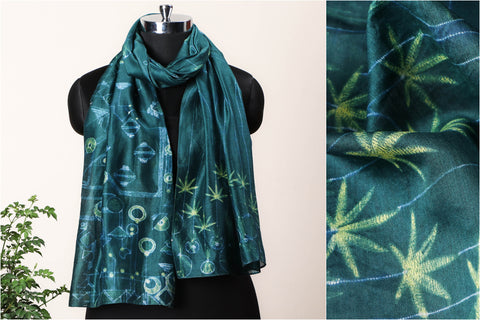 Special Cannabis Evolution Cycle Chanderi Silk Stitch Resist Dye Lemon/Bottle Green Stole